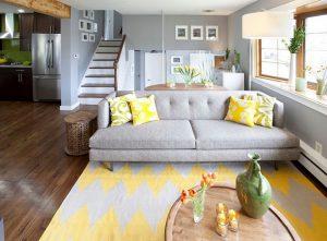 طوسی و زرد در دکوراسیون منزل
